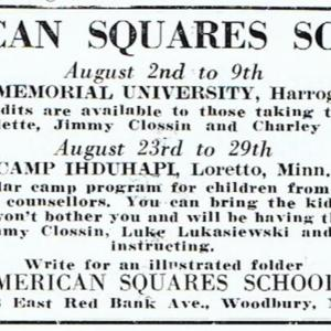 American squares School small ad 1952.jpg