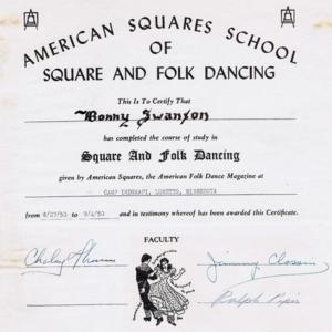 Diploma american Squares school 1950.jpg